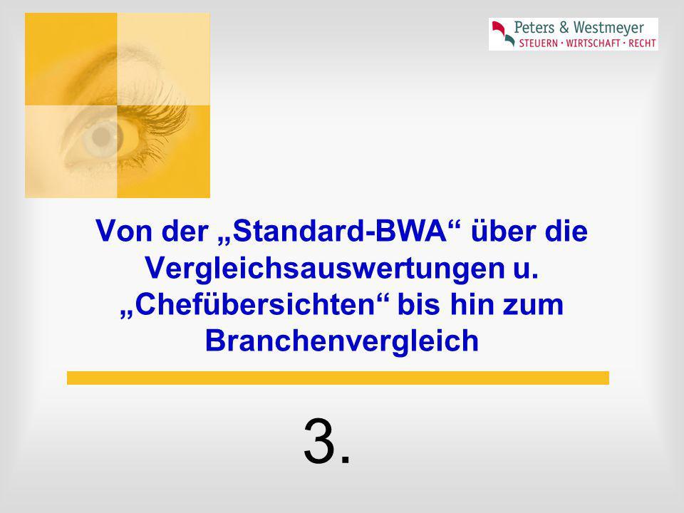 """Von der """"Standard-BWA"""" über die Vergleichsauswertungen u. """"Chefübersichten"""" bis hin zum Branchenvergleich 3."""