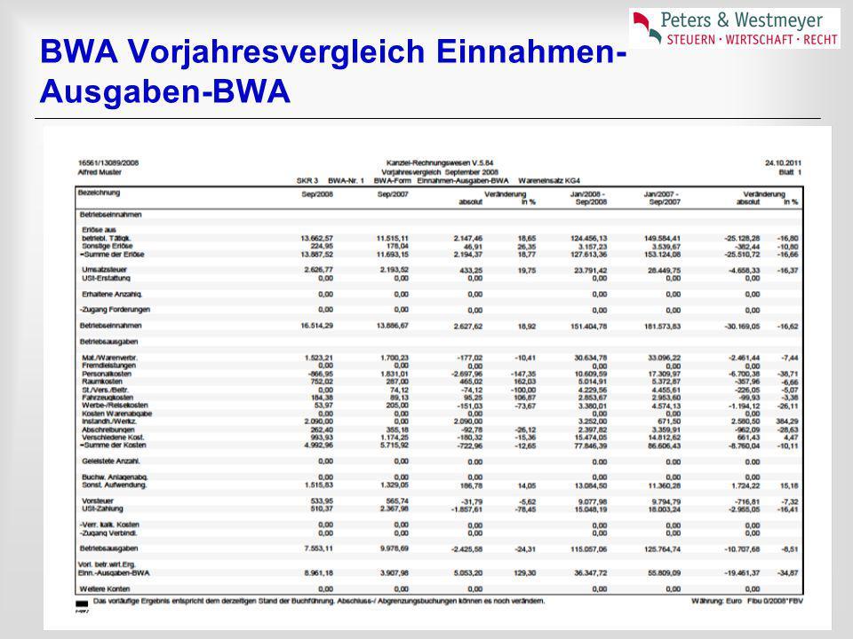 BWA Vorjahresvergleich Einnahmen- Ausgaben-BWA