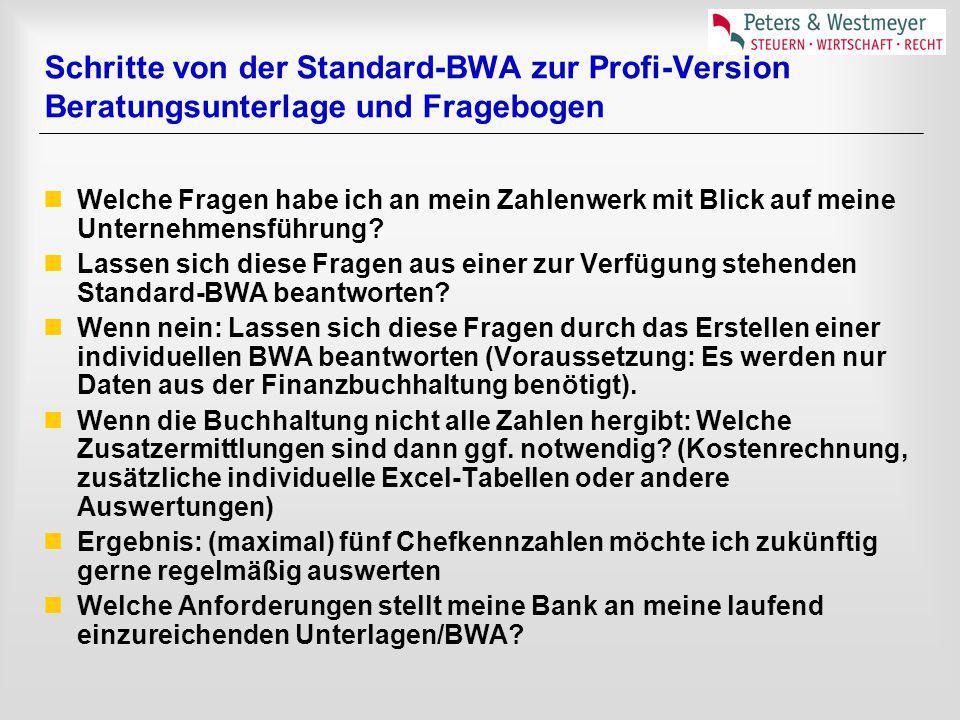 Schritte von der Standard-BWA zur Profi-Version Beratungsunterlage und Fragebogen Welche Fragen habe ich an mein Zahlenwerk mit Blick auf meine Untern