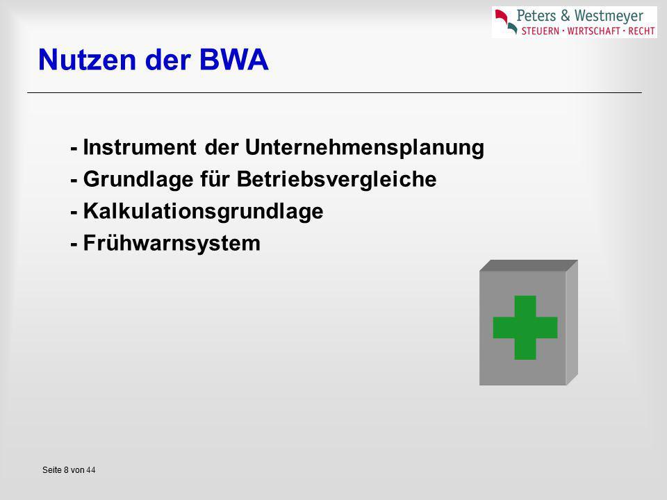 Seite 8 vonSeite 8 von 44 Nutzen der BWA - Instrument der Unternehmensplanung - Grundlage für Betriebsvergleiche - Kalkulationsgrundlage - Frühwarnsys