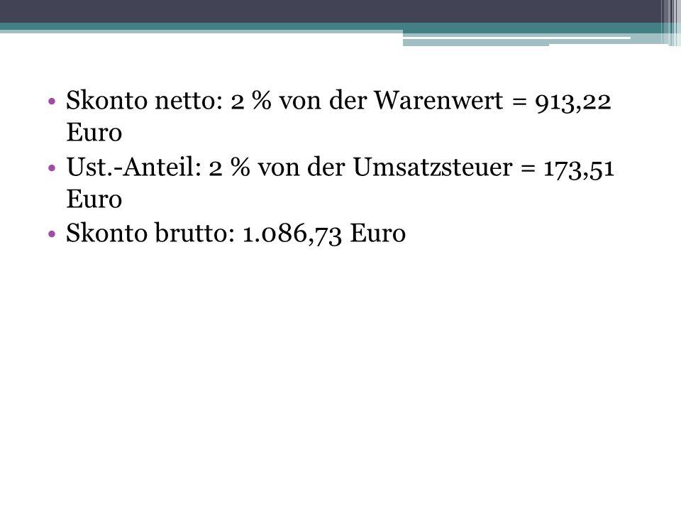 Skonto netto: 2 % von der Warenwert = 913,22 Euro Ust.-Anteil: 2 % von der Umsatzsteuer = 173,51 Euro Skonto brutto: 1.086,73 Euro