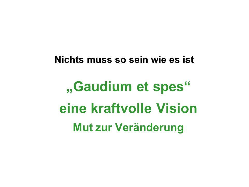 """""""Gaudium et spes"""" eine kraftvolle Vision Mut zur Veränderung Nichts muss so sein wie es ist"""