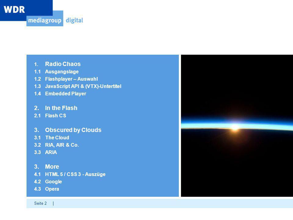 Seite 2 1. Radio Chaos 1.1 Ausgangslage 1.2Flashplayer – Auswahl 1.3JavaScript API & (VTX)-Untertitel 1.4Embedded Player 2.In the Flash 2.1Flash CS 3.