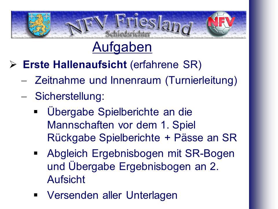 Aufgaben  Erste Hallenaufsicht (erfahrene SR)  Zeitnahme und Innenraum (Turnierleitung)  Sicherstellung:  Übergabe Spielberichte an die Mannschaften vor dem 1.