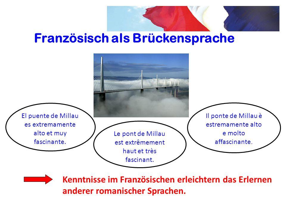 Französisch als Brückensprache Kenntnisse im Französischen erleichtern das Erlernen anderer romanischer Sprachen. Le pont de Millau est extrêmement ha