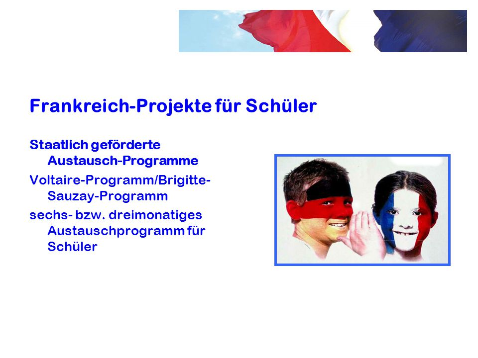 Frankreich-Projekte für Schüler Staatlich geförderte Austausch-Programme Voltaire-Programm/Brigitte- Sauzay-Programm sechs- bzw. dreimonatiges Austaus
