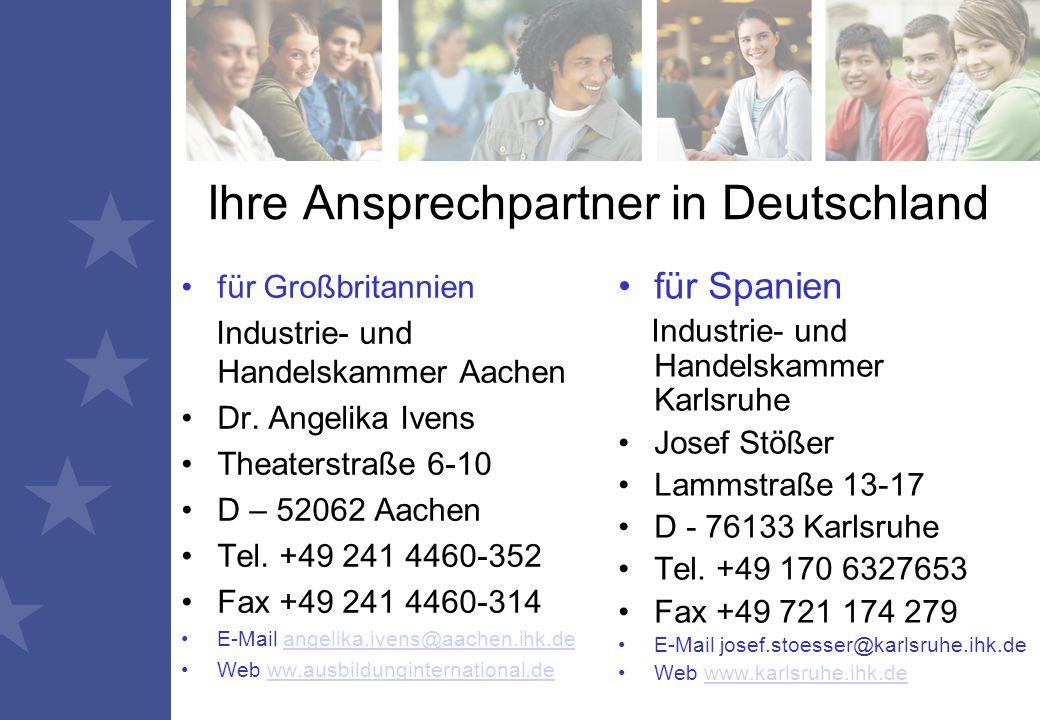 Ihre Ansprechpartner in Deutschland für Großbritannien Industrie- und Handelskammer Aachen Dr.