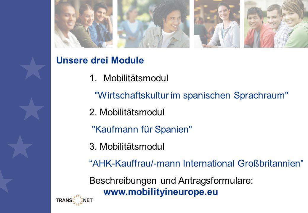 Unsere drei Module 1.Mobilitätsmodul Wirtschaftskultur im spanischen Sprachraum 2.