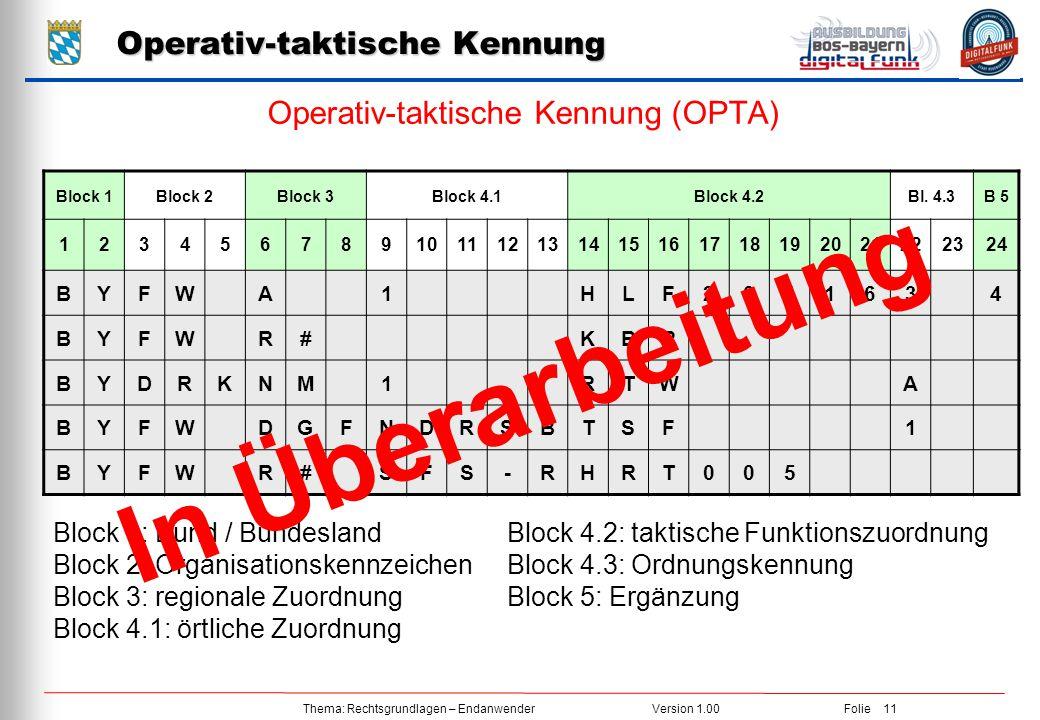 Thema: Rechtsgrundlagen – EndanwenderVersion 1.00Folie 11 Operativ-taktische Kennung Operativ-taktische Kennung (OPTA) Block 1Block 2Block 3Block 4.1Block 4.2Bl.