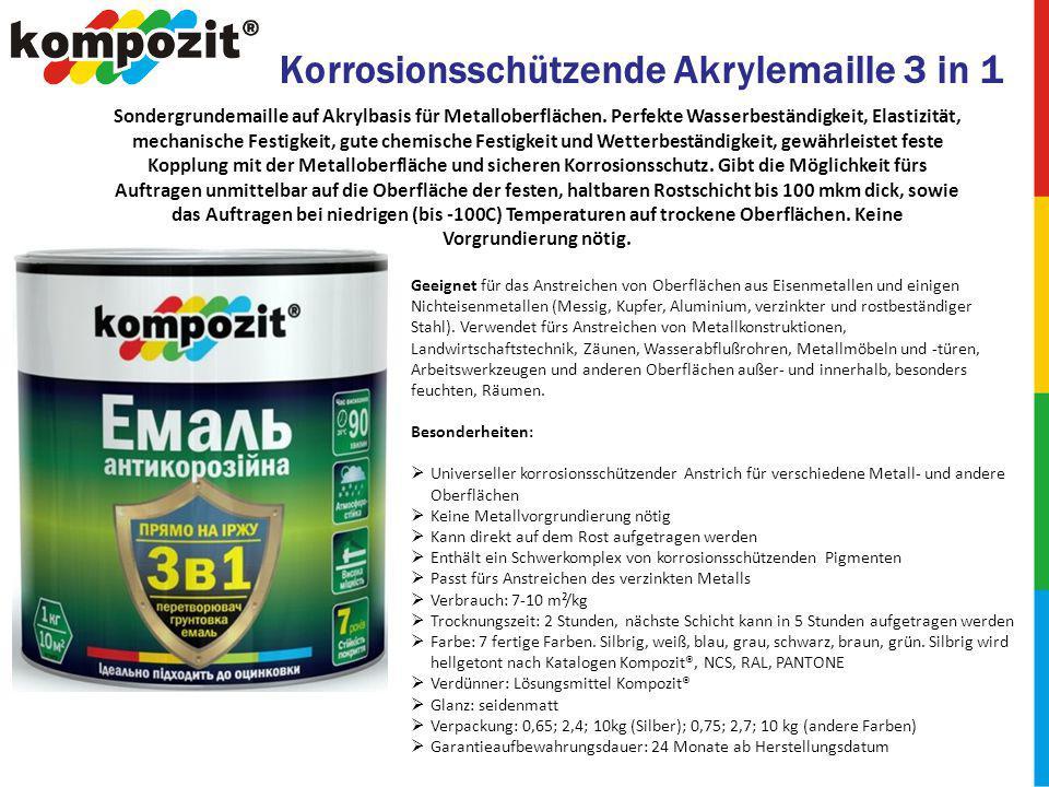 Korrosionsschützende Akrylemaille 3 in 1 Sondergrundemaille auf Akrylbasis für Metalloberflächen.