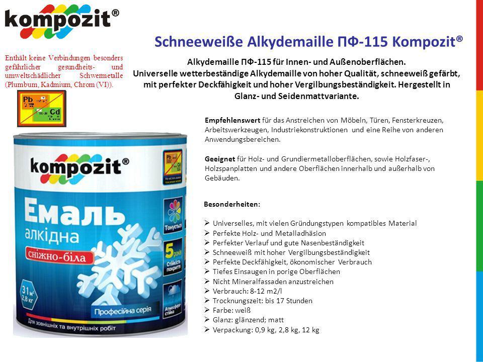 Schneeweiße Alkydemaille ПФ-115 Kompozit® Alkydemaille ПФ-115 für Innen- und Außenoberflächen.