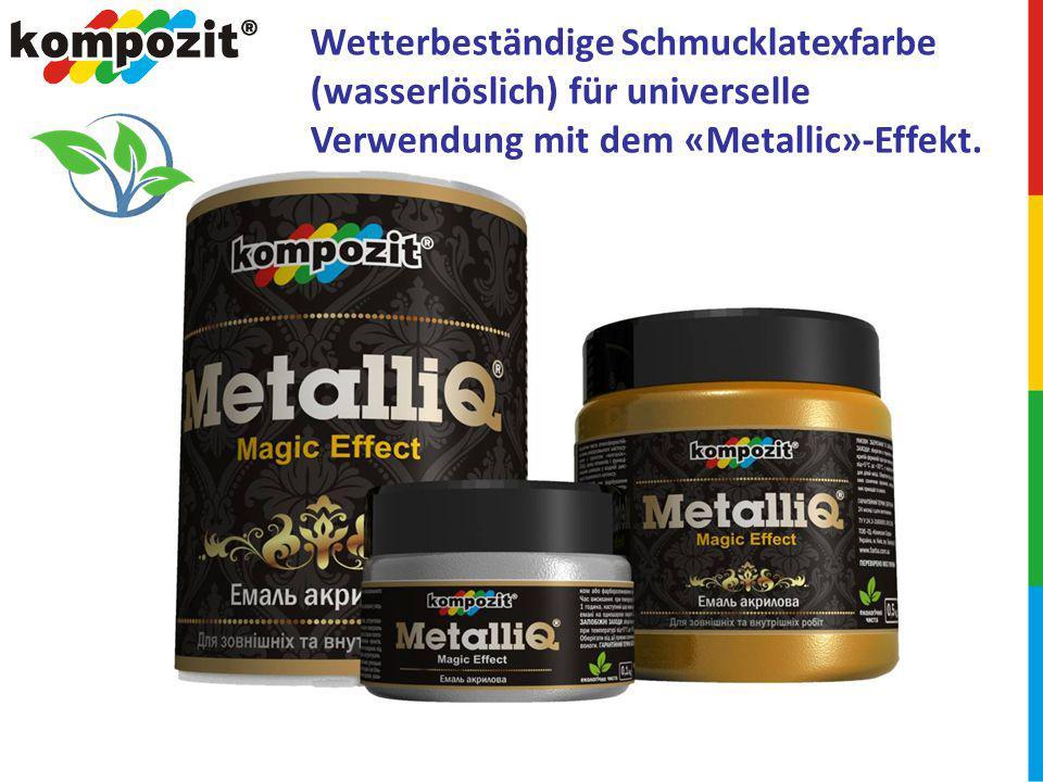 Wetterbeständige Schmucklatexfarbe (wasserlöslich) für universelle Verwendung mit dem «Metallic»-Effekt.