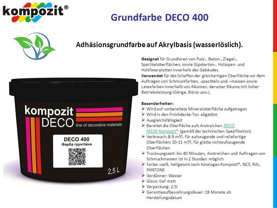 Grundfarbe DECO 400 Geeignet für Grundieren von Putz-, Beton-, Ziegel-, Spachteloberflächen, sowie Gipskarton-, Holzspan- und Holzfaserplatten innerhalb des Gebäudes.
