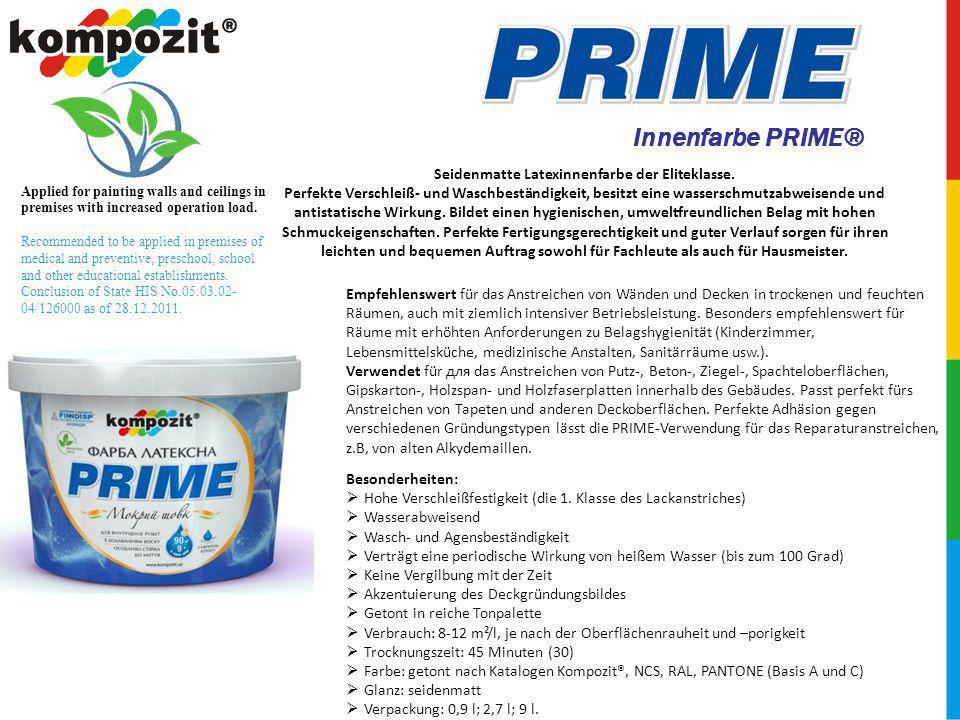 Innenfarbe PRIME® Empfehlenswert für das Anstreichen von Wänden und Decken in trockenen und feuchten Räumen, auch mit ziemlich intensiver Betriebsleistung.