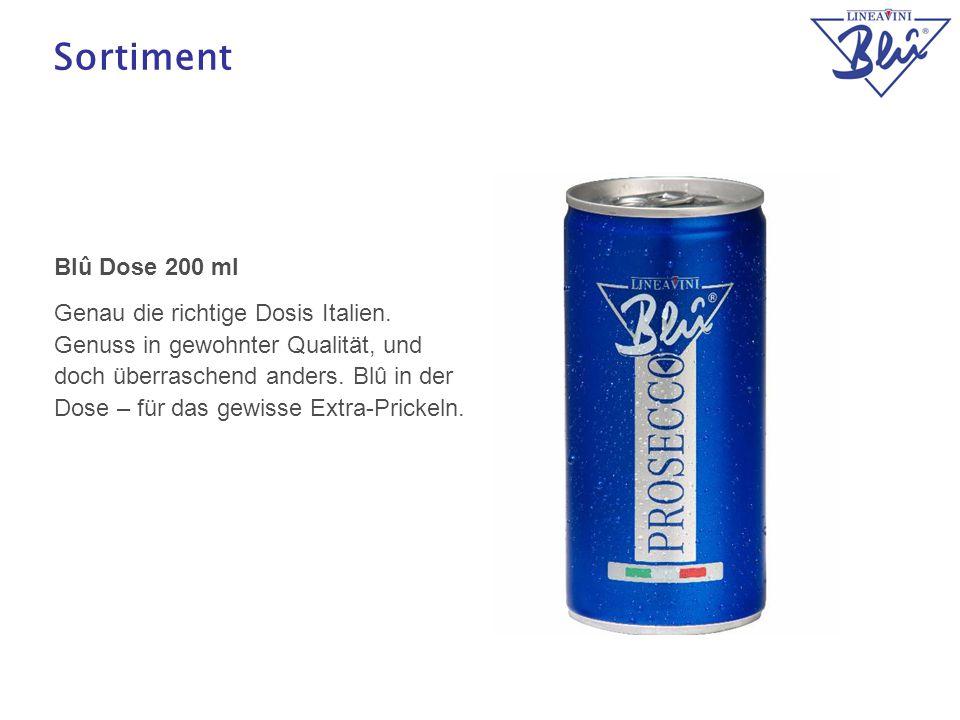 14 Sortiment Blû Dose 200 ml Genau die richtige Dosis Italien. Genuss in gewohnter Qualität, und doch überraschend anders. Blû in der Dose – für das g