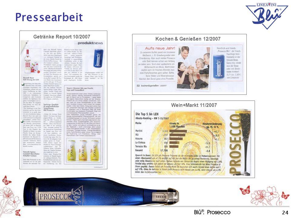 24 Pressearbeit Getränke Report 10/2007 Kochen & Genießen 12/2007 Wein+Markt 11/2007