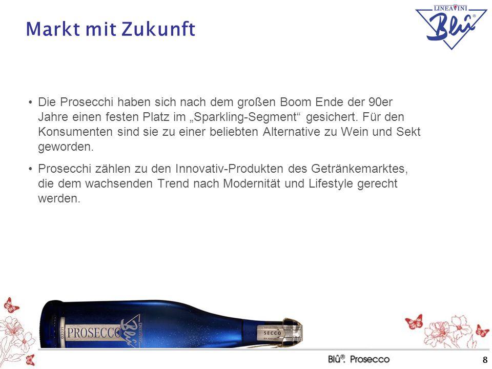 """8 Markt mit Zukunft Die Prosecchi haben sich nach dem großen Boom Ende der 90er Jahre einen festen Platz im """"Sparkling-Segment"""" gesichert. Für den Kon"""