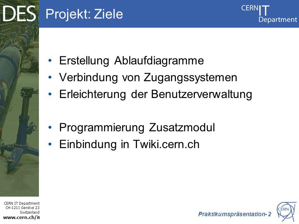 CERN IT Department CH-1211 Genève 23 Switzerland www.cern.ch/i t Projekt: Ziele Erstellung Ablaufdiagramme Verbindung von Zugangssystemen Erleichterung der Benutzerverwaltung Programmierung Zusatzmodul Einbindung in Twiki.cern.ch Praktikumspräsentation- 2