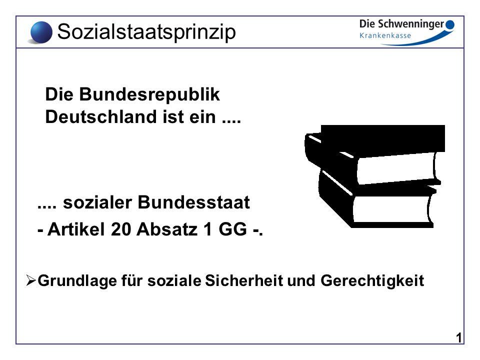 1 Die Bundesrepublik Deutschland ist ein.... Grundgesetz.... sozialer Bundesstaat - Artikel 20 Absatz 1 GG -. Sozialstaatsprinzip  Grundlage für sozi