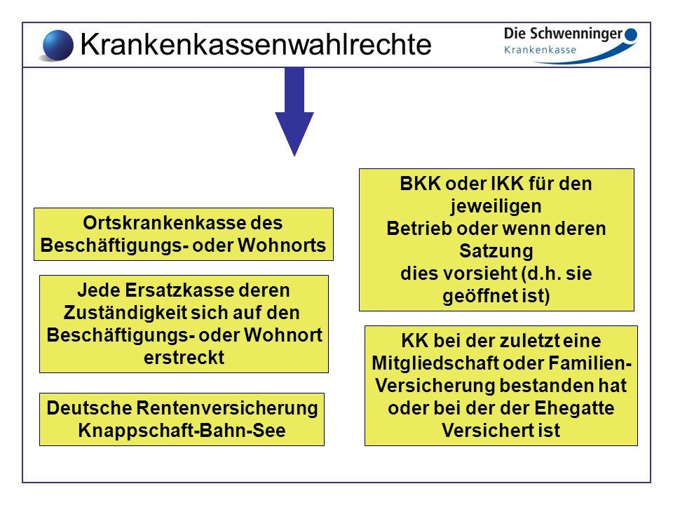 Jede Ersatzkasse deren Zuständigkeit sich auf den Beschäftigungs- oder Wohnort erstreckt Ortskrankenkasse des Beschäftigungs- oder Wohnorts Deutsche R