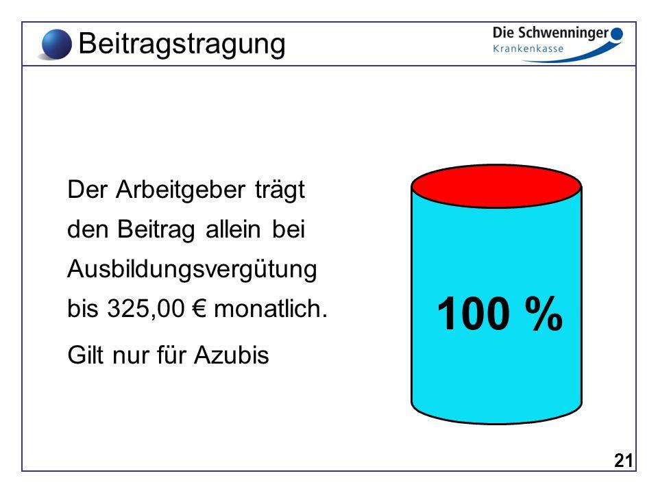 Der Arbeitgeber trägt den Beitrag allein bei Ausbildungsvergütung bis 325,00 € monatlich. Gilt nur für Azubis 21 Beitragstragung 100 %