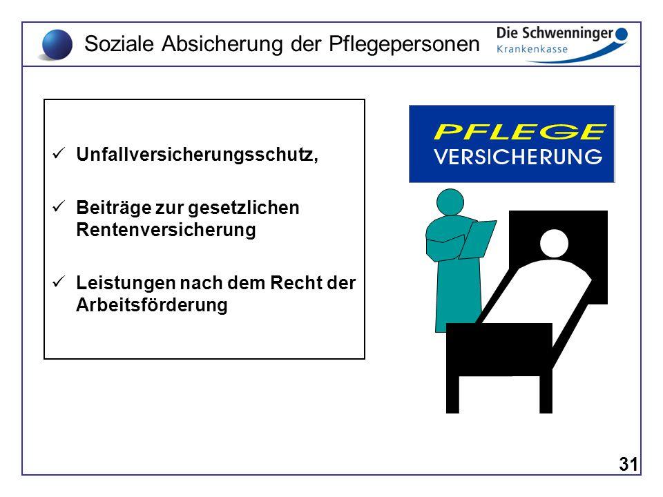 31 Soziale Absicherung der Pflegepersonen Unfallversicherungsschutz, Beiträge zur gesetzlichen Rentenversicherung Leistungen nach dem Recht der Arbeit