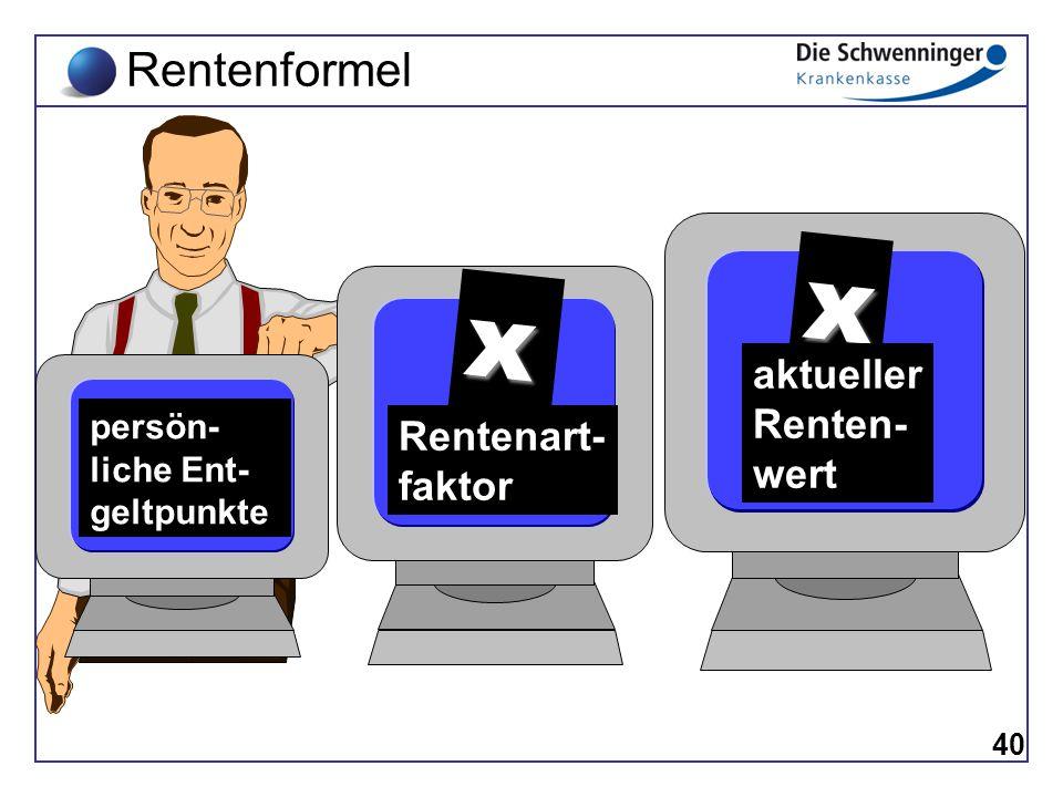 Rentenformel 40 persön- liche Ent- geltpunkte x aktueller Renten- wert Rentenart- faktor x