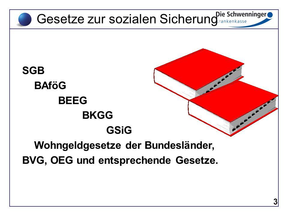 3 SGB BAföG BEEG BKGG GSiG Wohngeldgesetze der Bundesländer, BVG, OEG und entsprechende Gesetze. Gesetze zur sozialen Sicherung