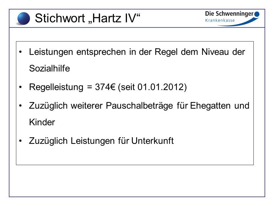 Leistungen entsprechen in der Regel dem Niveau der Sozialhilfe Regelleistung = 374€ (seit 01.01.2012) Zuzüglich weiterer Pauschalbeträge für Ehegatten