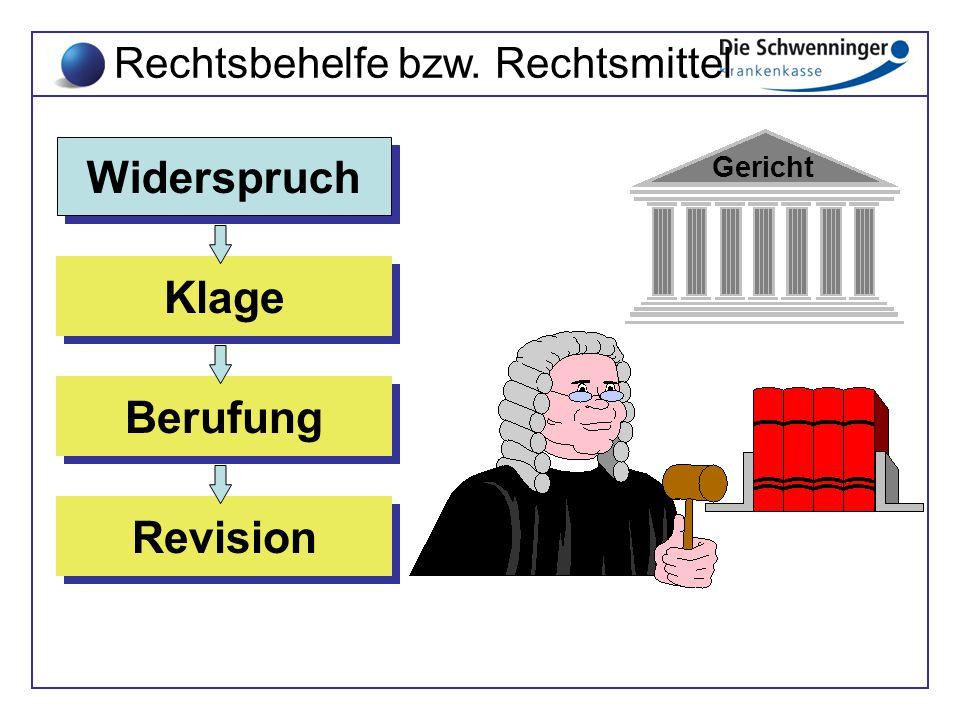 Revision Revision Berufung Berufung Klage Klage Widerspruch Widerspruch Gericht Rechtsbehelfe bzw. Rechtsmittel
