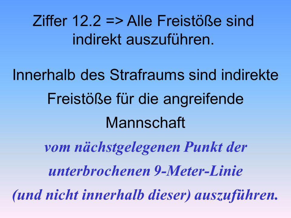 Ziffer 12.2 => Alle Freistöße sind indirekt auszuführen. Innerhalb des Strafraums sind indirekte Freistöße für die angreifende Mannschaft vom nächstge