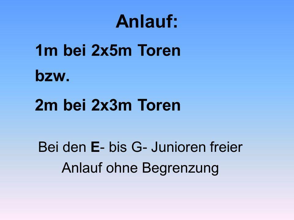 Anlauf: 1m bei 2x5m Toren bzw. 2m bei 2x3m Toren Bei den E- bis G- Junioren freier Anlauf ohne Begrenzung