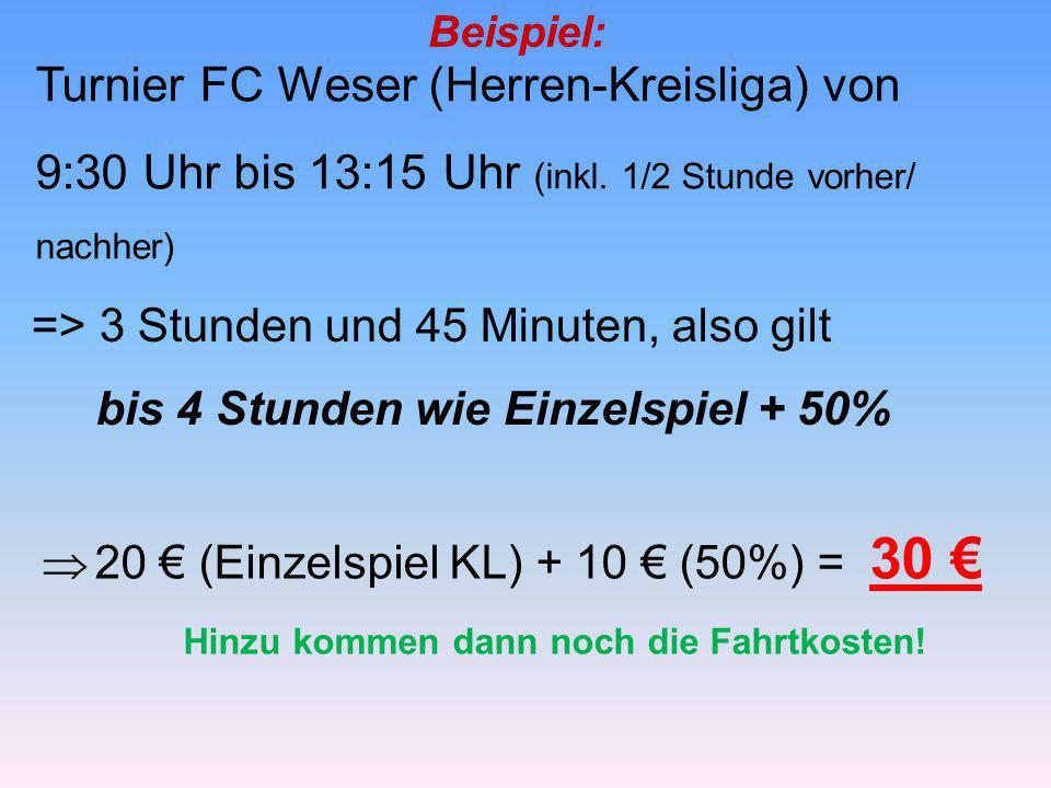 Beispiel: Turnier FC Weser (Herren-Kreisliga) von 9:30 Uhr bis 13:15 Uhr (inkl. 1/2 Stunde vorher/ nachher) => 3 Stunden und 45 Minuten, also gilt bis