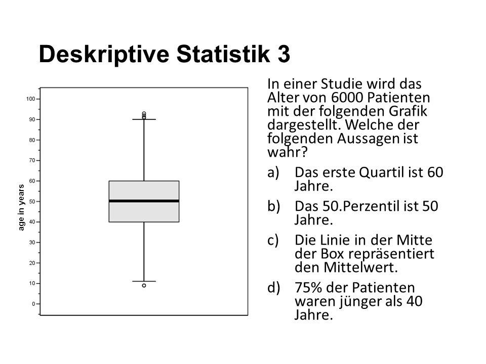 Deskriptive Statistik 3 In einer Studie wird das Alter von 6000 Patienten mit der folgenden Grafik dargestellt. Welche der folgenden Aussagen ist wahr