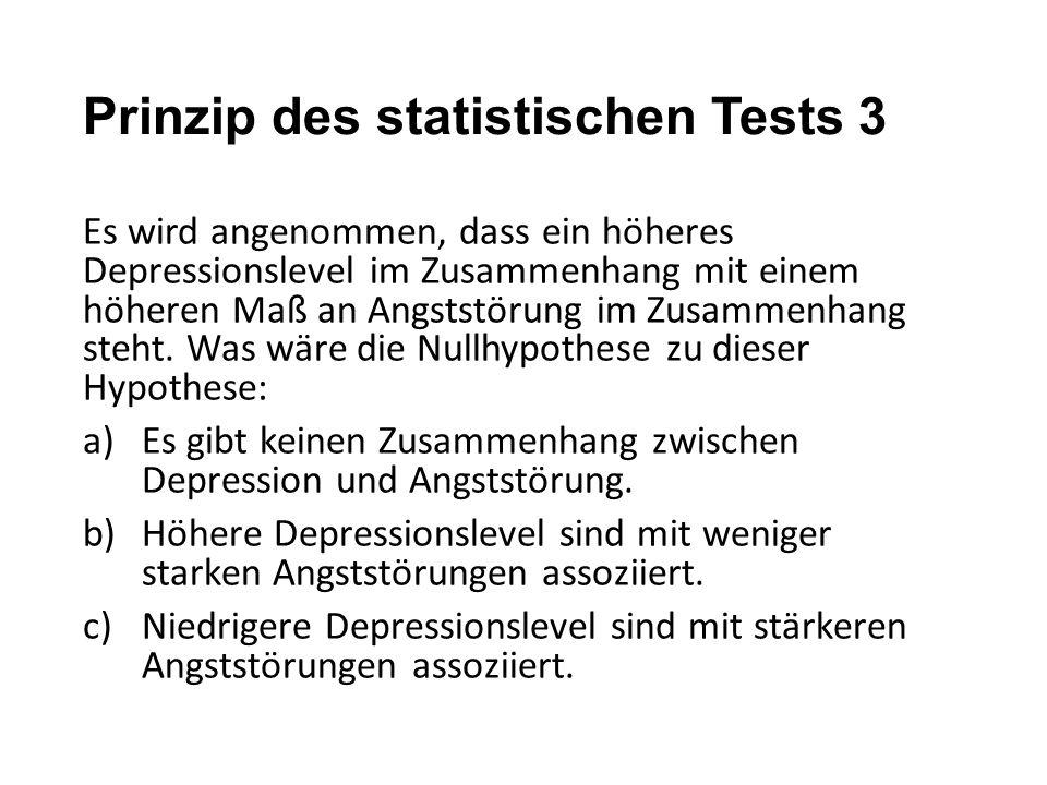 Prinzip des statistischen Tests 3 Es wird angenommen, dass ein höheres Depressionslevel im Zusammenhang mit einem höheren Maß an Angststörung im Zusam