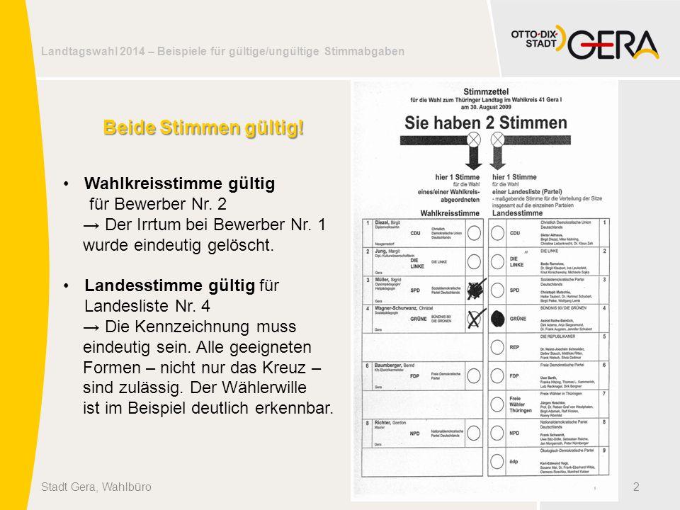 Landtagswahl 2014 – Beispiele für gültige/ungültige Stimmabgaben 2Stadt Gera, Wahlbüro Beide Stimmen gültig! Wahlkreisstimme gültig für Bewerber Nr. 2