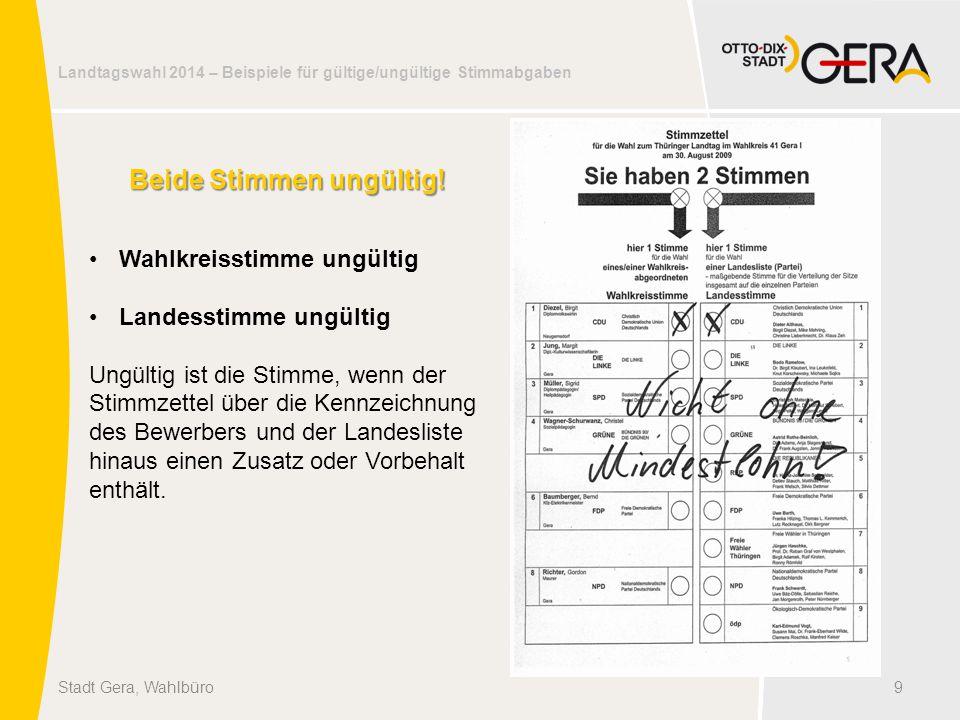 Landtagswahl 2014 – Beispiele für gültige/ungültige Stimmabgaben 9Stadt Gera, Wahlbüro Beide Stimmen ungültig! Wahlkreisstimme ungültig Landesstimme u