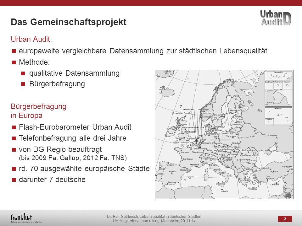 Dr. Ralf Gutfleisch: Lebensqualität in deutschen Städten UA-Mitgliederversammlung, Mannheim, 20.11.14 Das Gemeinschaftsprojekt 2 Urban Audit: europawe