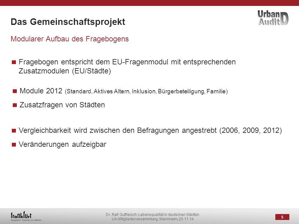 Dr. Ralf Gutfleisch: Lebensqualität in deutschen Städten UA-Mitgliederversammlung, Mannheim, 20.11.14 Das Gemeinschaftsprojekt 5 Modularer Aufbau des
