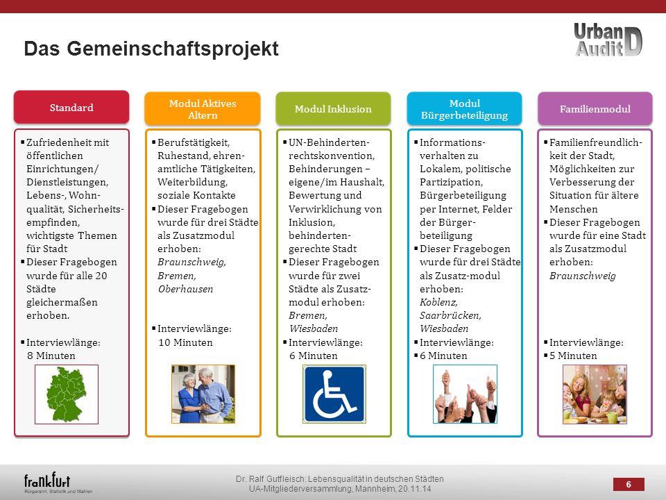 Dr. Ralf Gutfleisch: Lebensqualität in deutschen Städten UA-Mitgliederversammlung, Mannheim, 20.11.14 Das Gemeinschaftsprojekt 6 Standard  Zufriedenh