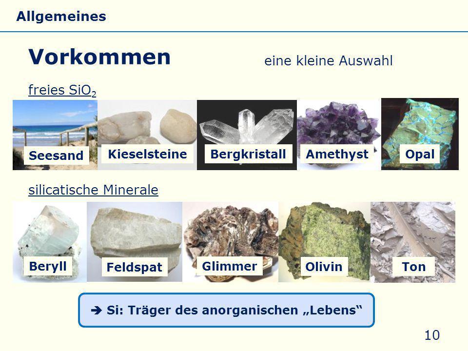 """freies SiO 2 silicatische Minerale Vorkommen 10 AmethystOpal Beryll Feldspat Seesand Kieselsteine  Si: Träger des anorganischen """"Lebens"""" Bergkristall"""