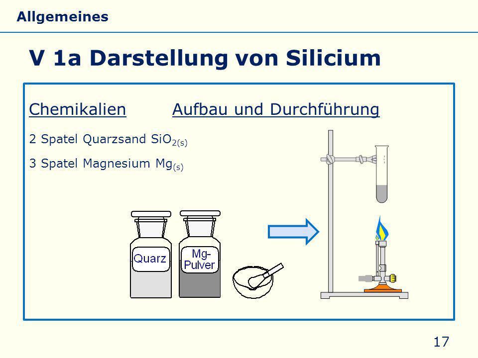 V 1a Darstellung von Silicium ChemikalienAufbau und Durchführung 2 Spatel Quarzsand SiO 2(s) 3 Spatel Magnesium Mg (s) 17 Allgemeines Eigenschaften Si