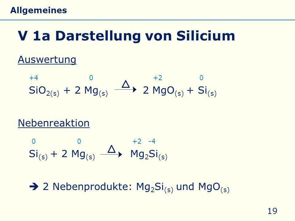 V 1a Darstellung von Silicium Auswertung +4 0 +2 0 SiO 2(s) + 2 Mg (s) 2 MgO (s) + Si (s) Nebenreaktion 0 0 +2 -4 Si (s) + 2 Mg (s) Mg 2 Si (s)  2 Ne