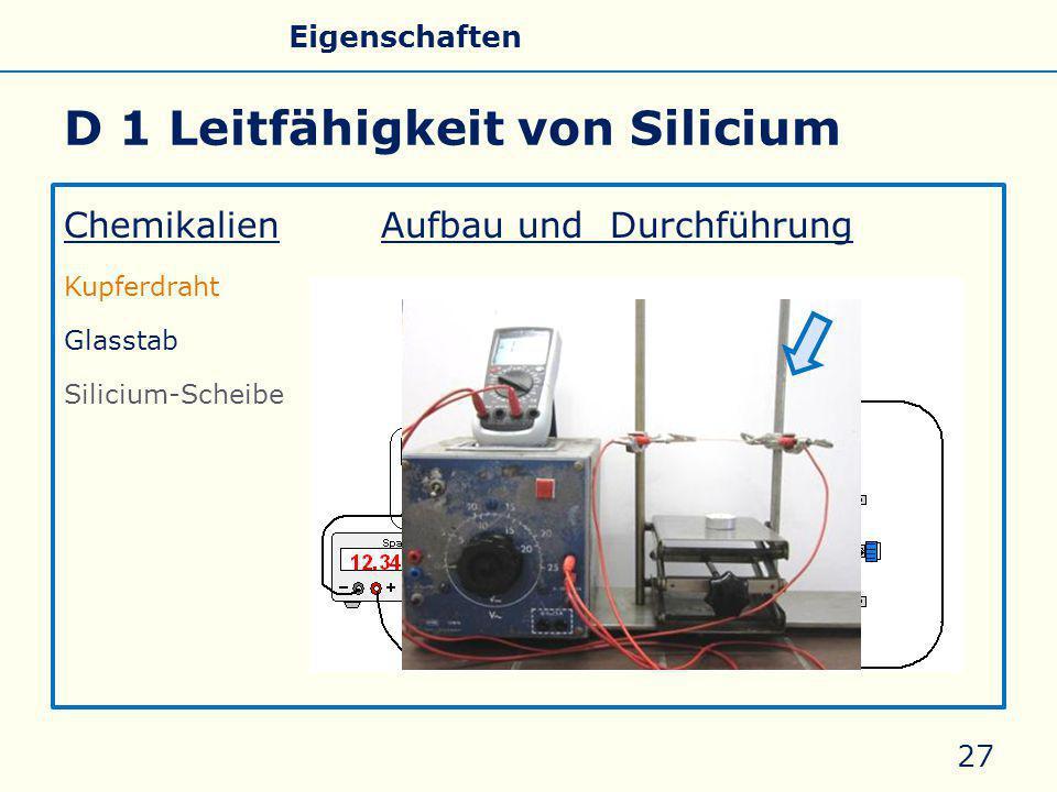 D 1 Leitfähigkeit von Silicium Chemikalien Aufbau und Durchführung Kupferdraht Glasstab Silicium-Scheibe 27 Allgemeines Eigenschaften Silicate Silicone Glas