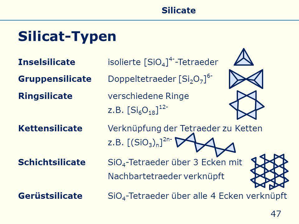 Silicat-Typen Inselsilicateisolierte [SiO 4 ] 4- -Tetraeder GruppensilicateDoppeltetraeder [Si 2 O 7 ] 6- Ringsilicateverschiedene Ringe z.B. [Si 6 O