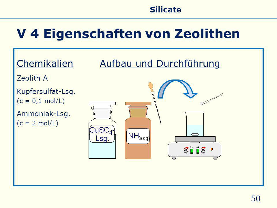 V 4 Eigenschaften von Zeolithen ChemikalienAufbau und Durchführung Zeolith A Kupfersulfat-Lsg. (c = 0,1 mol/L) Ammoniak-Lsg. (c = 2 mol/L) 50 Allgemei