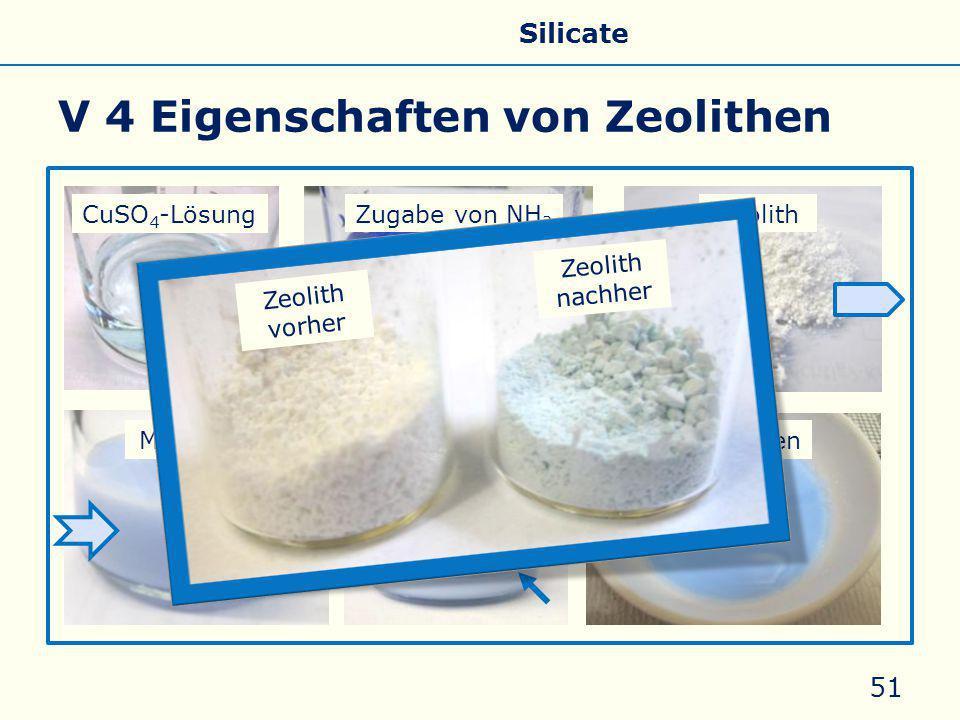 V 4 Eigenschaften von Zeolithen 51 CuSO 4 -Lösung Zugabe von NH 3 Zeolith nach 5 minMischungAbdampfen Zeolith nachher Zeolith vorher Allgemeines Eigenschaften Silicate Silicone Glas