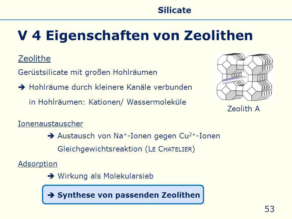 Zeolithe Gerüstsilicate mit großen Hohlräumen  Hohlräume durch kleinere Kanäle verbunden in Hohlräumen: Kationen/ Wassermoleküle Ionenaustauscher  A