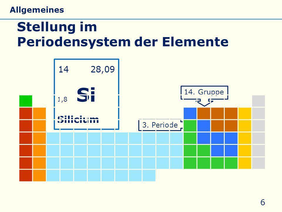 Stellung im Periodensystem der Elemente 6 C Si Ge Sn Pb 14 28,09 1,8 Si Silicium 14. Gruppe 3. Periode Si Allgemeines Eigenschaften Silicate Silicone