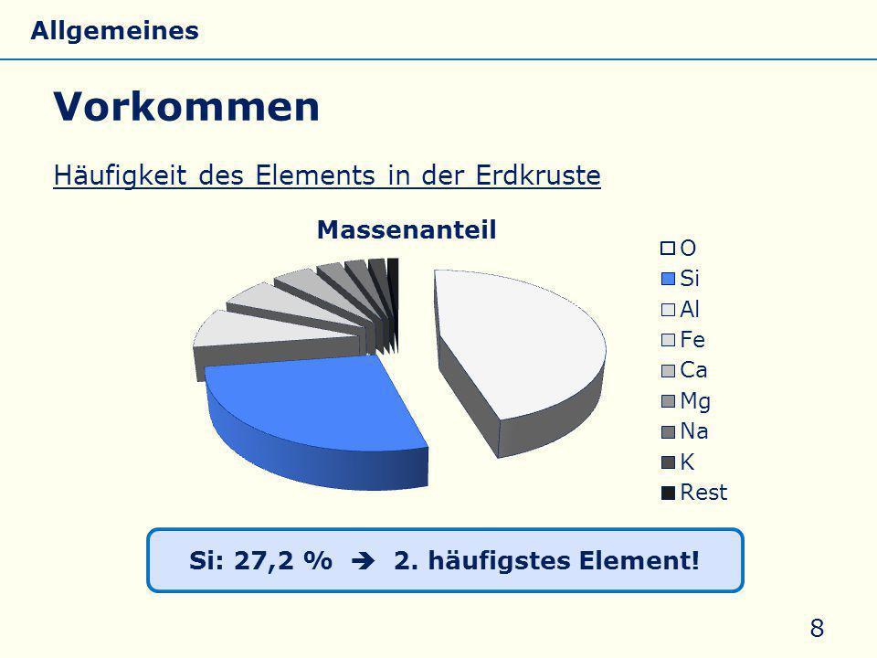 Si: 27,2 %  2. häufigstes Element! Häufigkeit des Elements in der Erdkruste Vorkommen 8 Allgemeines Eigenschaften Silicate Silicone Glas
